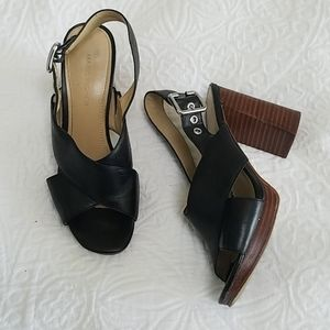 Marc Fisher leather strappy block heel sandle